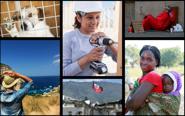 collage of images about volunteering