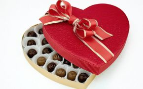 Heart-shaped box of Valentine chocolate