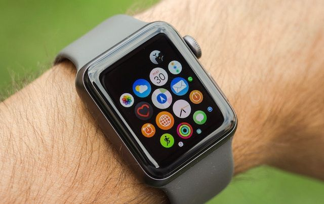 Close up of man's wrist wearing Apple watch