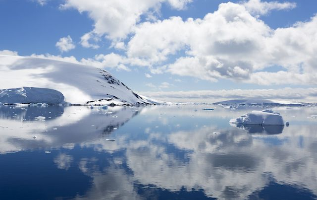 Iceberg and open meltwater in Antarctica.