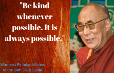 Dalai Lama with birthday message and quote