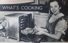 ad for frozen dinners woman smiling at oven