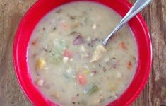 red bowl filled with chowder