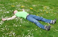 Man laying in sunny lawn full of flowers