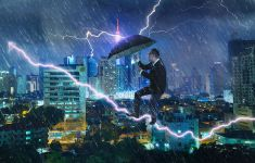Man in electrical storm battling lightning with an umbrella