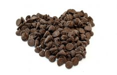 Chocolate chips mounded into shape of a heart.