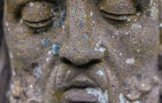 Close up on stone statue face with lichen growing