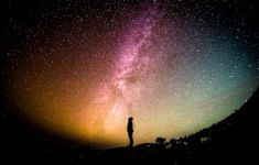 Silhouette of person staring up at Milky Way and night sky.