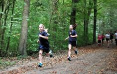 kids running on wooded trail