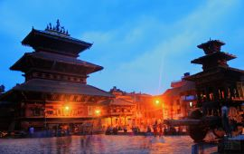 Bhaktapur, Nepal in the evening at dusk