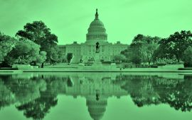 Green tint over photo of U.S. Capital Building.